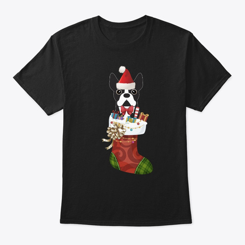 Smiletees Xmas Boston Terrier In Christma Black T-Shirt Front