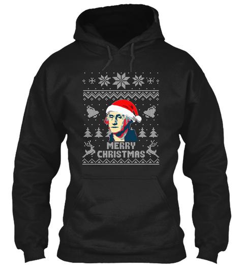 George Washington Merry Christmas Black T-Shirt Front