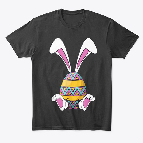 Easter Shirt Cute Happy Rabbit Eggs Black T-Shirt Front