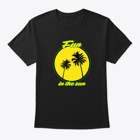 Sun Palm Tree Holiday Holidaymakers Holi Black T-Shirt Front