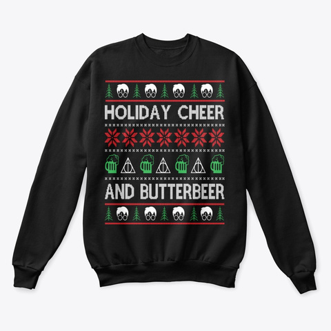 Holiday Cheer And Butterbeer Black T-Shirt Front