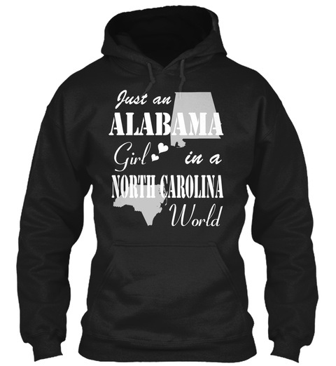 Alabama Girl In A North Carolina Black T-Shirt Front