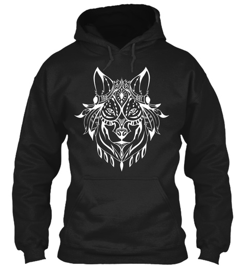 Ethnic White Wolf Hoodie Black T-Shirt Front