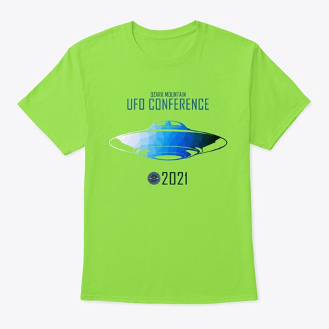 Ozark Mountain Ufo Conference Logo 2021 Lime T-Shirt Front