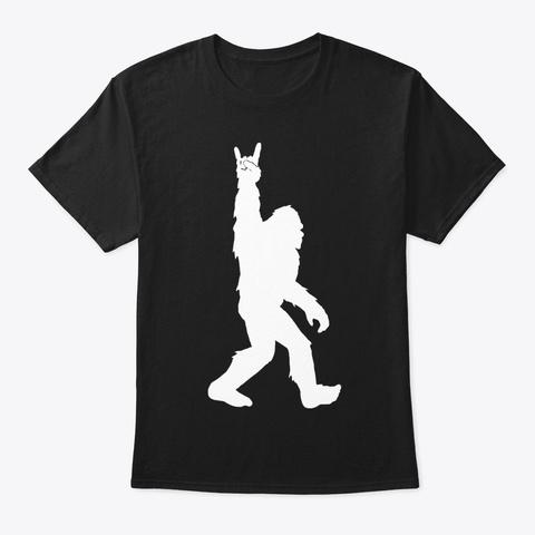 Bigfoot Rock And Roll Sasquatch T Shirts Black T-Shirt Front
