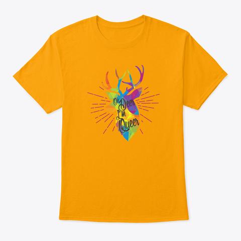 Oh Deer Im Queer Shirt Transgender Flag Gold T-Shirt Front