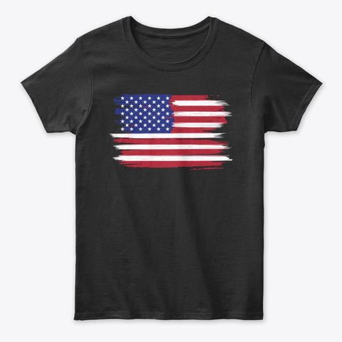 Stylistic American Flag Black T-Shirt Front