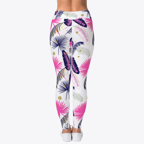 Pink Palm Pattern Leggings Light Yellow T-Shirt Back