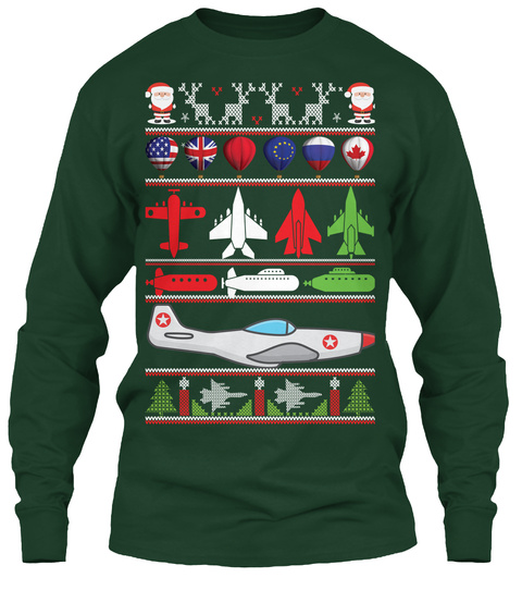 Ugly Christmas Sweater  Pilot Edition Forest Green T-Shirt Front