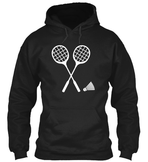 Hoodie Badminton Sports Black T-Shirt Front