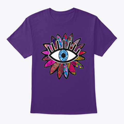 Greek Evil Eye Purple Flower  Purple T-Shirt Front