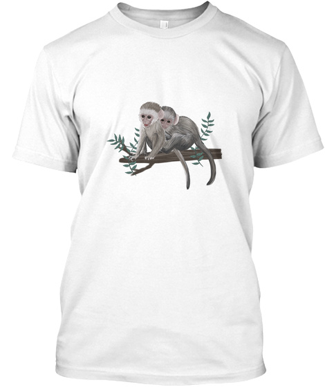 Two Monkeys On A Branch White T-Shirt Front