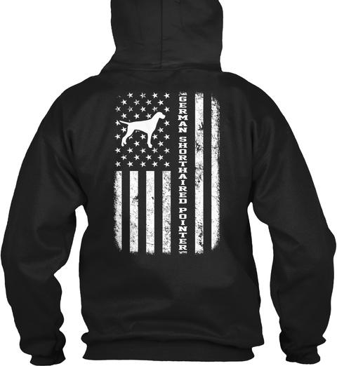 German Shorthaired Pointer Flag Funny Gi Black T-Shirt Back