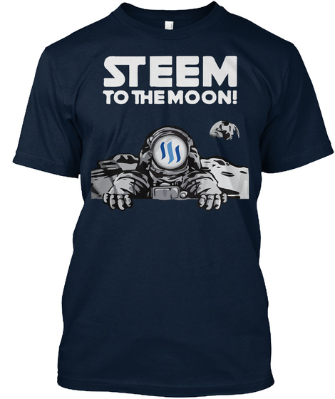 Steem The Moon! New Navy T-Shirt Front