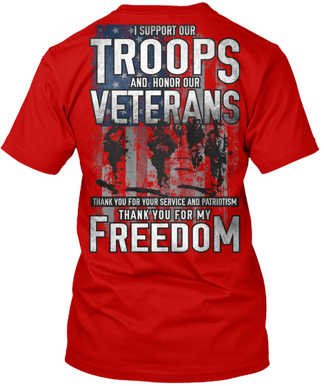 Red Friday Support Our Troops T Shirt! Classic Red T-Shirt Back