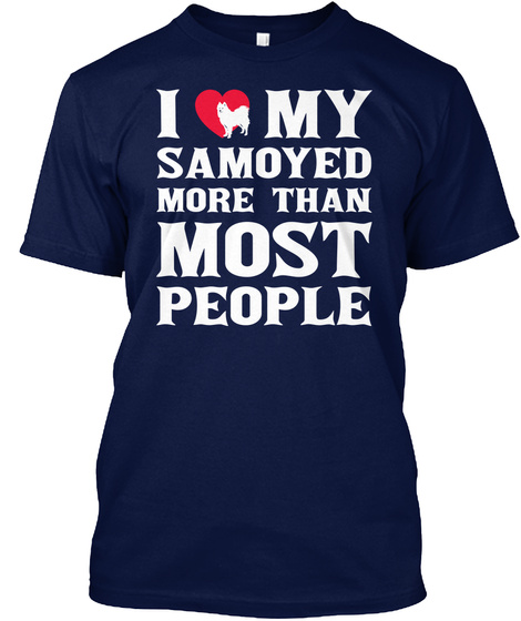 Samoyed Navy T-Shirt Front
