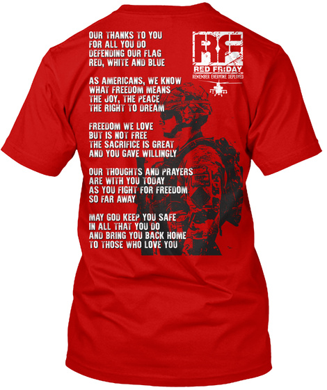 Red Friday! Thanks To Our Soldiers! Classic Red T-Shirt Back