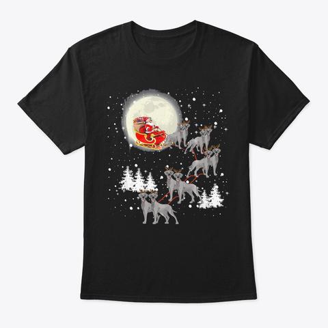Cute Great Dane Christmas Lights Reindee Black T-Shirt Front