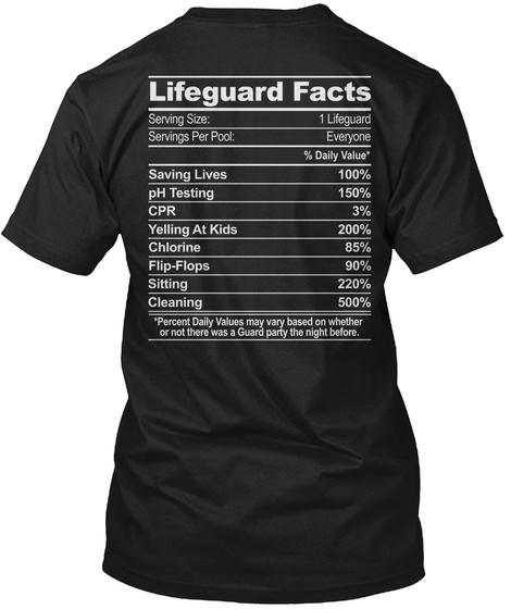Lifeguard Facts Black T-Shirt Back