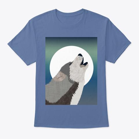 Howling Wolf Denim Blue T-Shirt Front