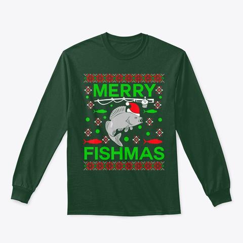 Merry Fishmas Funny Christmas Xmas Hoodi Forest Green T-Shirt Front