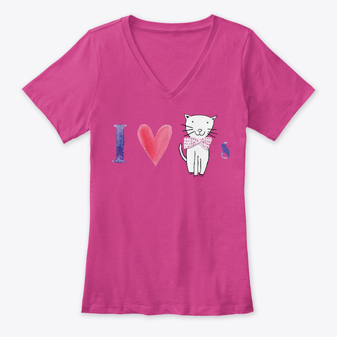 I Heart Cats Berry T-Shirt Front