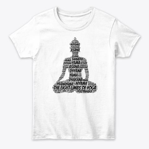 Yoga Buddha Meditation Graphic Asana White T-Shirt Front