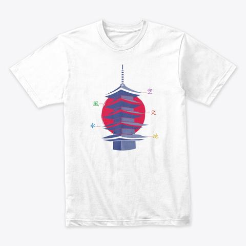 Japanese Pagoda Symbolism, Five Elements White T-Shirt Front