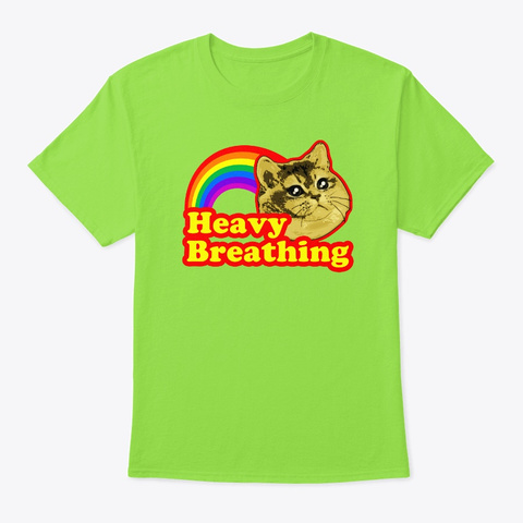 Heavy Breathing Rainbow Cat Lime T-Shirt Front