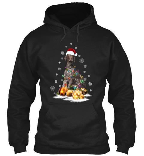 Pointer Christmas Dog Light Black T-Shirt Front