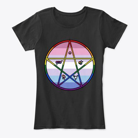 Queer Pentagram Bigender Black T-Shirt Front