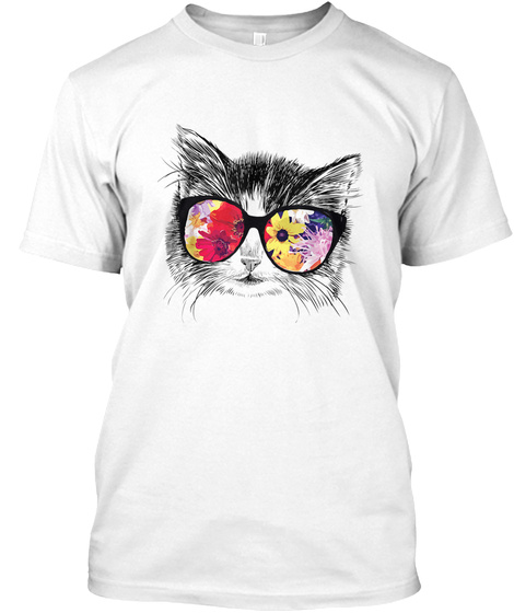 Funny Hipster Cat Lover Summer Flowers S White T-Shirt Front
