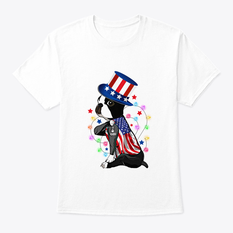 French Bulldog 4 Th Of July Costume Usa F White T-Shirt Front