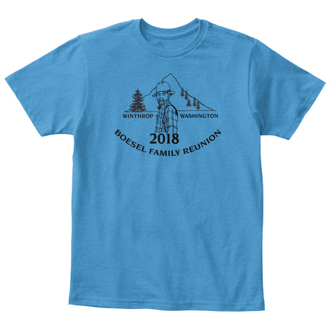 Kids Traditional/No Back Black Logo Heathered Bright Turquoise  T-Shirt Front