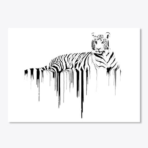 Art Of Tiger Sticker White T-Shirt Front