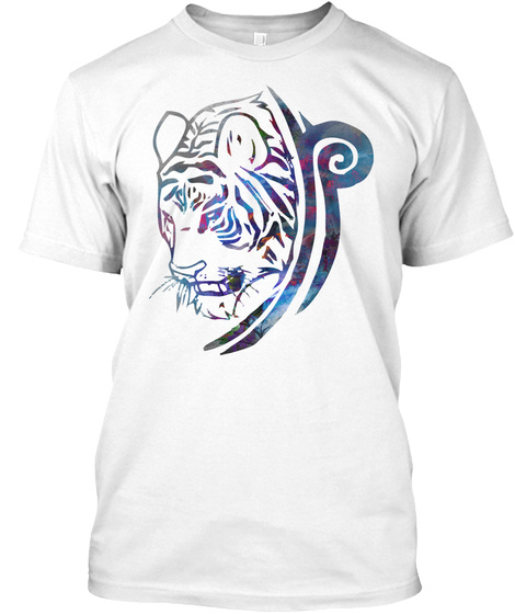 Tribal Tiger White T-Shirt Front