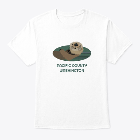 Pacific County Wa Otter Pnw Tribal White T-Shirt Front