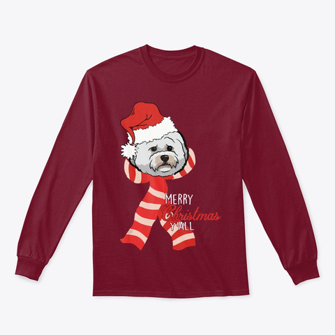 Merry Christmas Y'all Santa Bichon Frise Cardinal Red T-Shirt Front