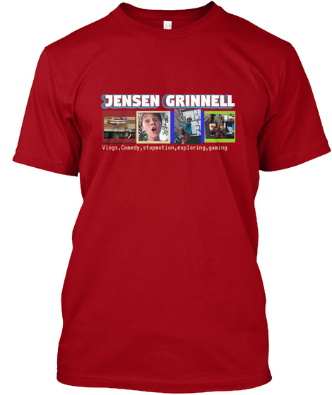 Jensen Grinnell Vlogs, Comedy, Stopmotion, Exploring, Gaming Deep Red T-Shirt Front