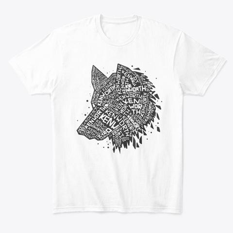 Black Wolf Word Art White T-Shirt Front