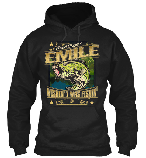 Emile Fishing Gift Black T-Shirt Front