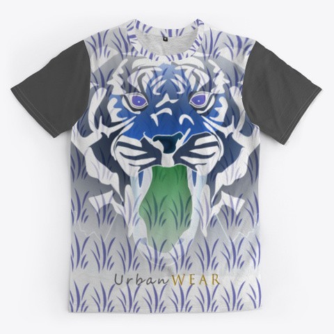 Official Seventy Degrees Tiger Design Charcoal T-Shirt Front