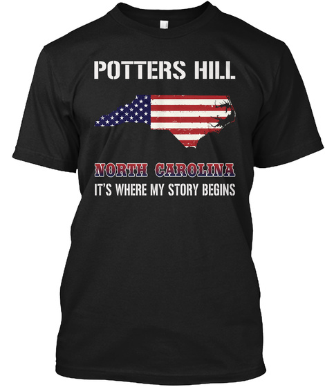 Potters Hill Nc   Story Begins Black T-Shirt Front