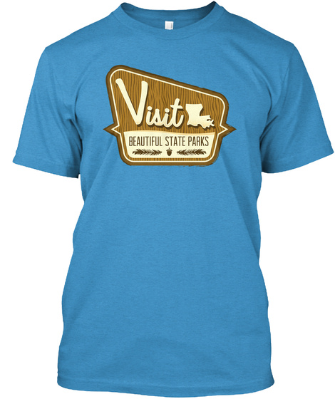 Louisiana State Parks Heathered Bright Turquoise  T-Shirt Front