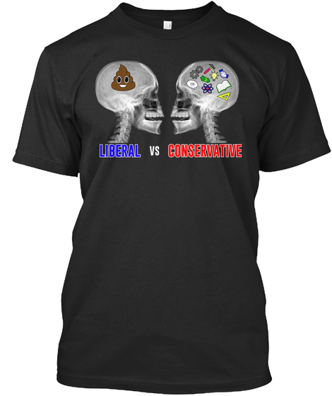 Liberal Vs Conservative Black T-Shirt Front