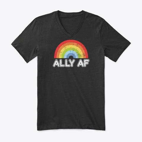 Ally Af Gay Pride Lgbt Flag Gift Black T-Shirt Front