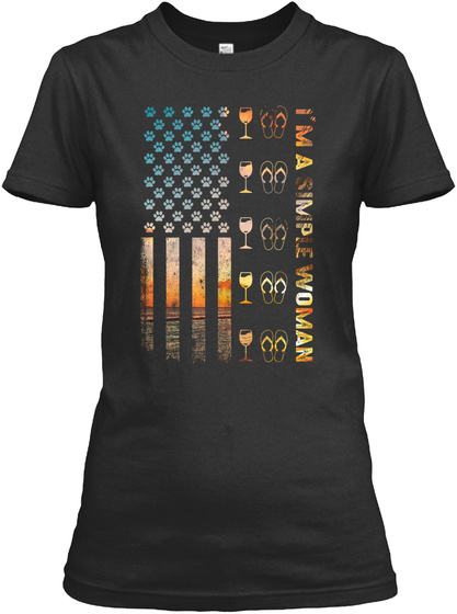 I'm Simple Woman Wine Flip Flop Usa Flag Black T-Shirt Front