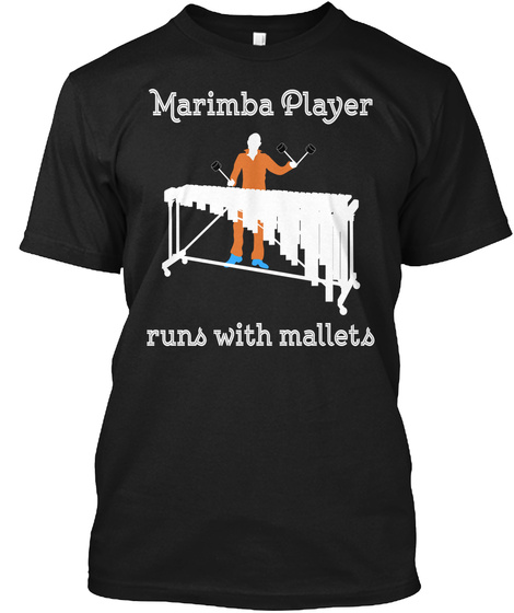 Marimba Jazz Percussion Marching Band Black T-Shirt Front
