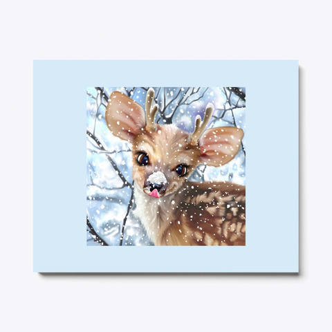 Holiday Scene Reindeer In The Snow Pale Blue T-Shirt Front