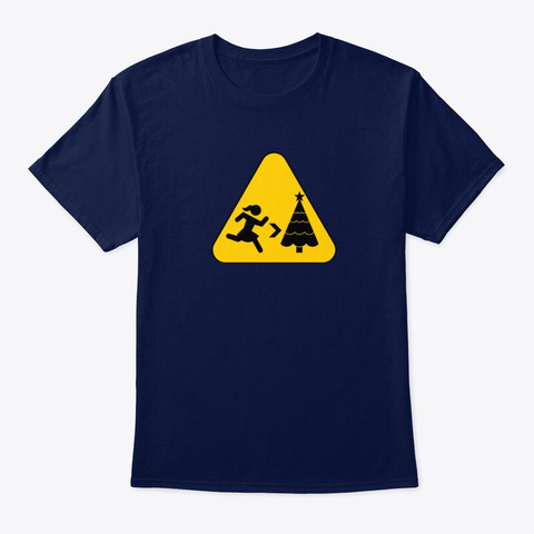 Run To Christmas   Road Sign Navy T-Shirt Front